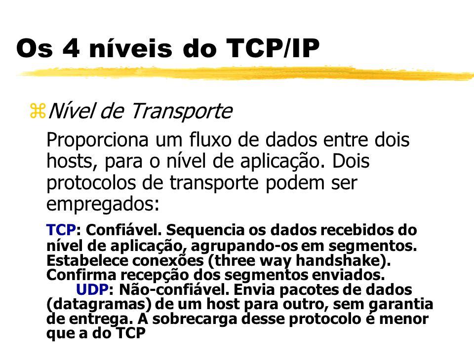 zNível de Transporte Proporciona um fluxo de dados entre dois hosts, para o nível de aplicação. Dois protocolos de transporte podem ser empregados: TC