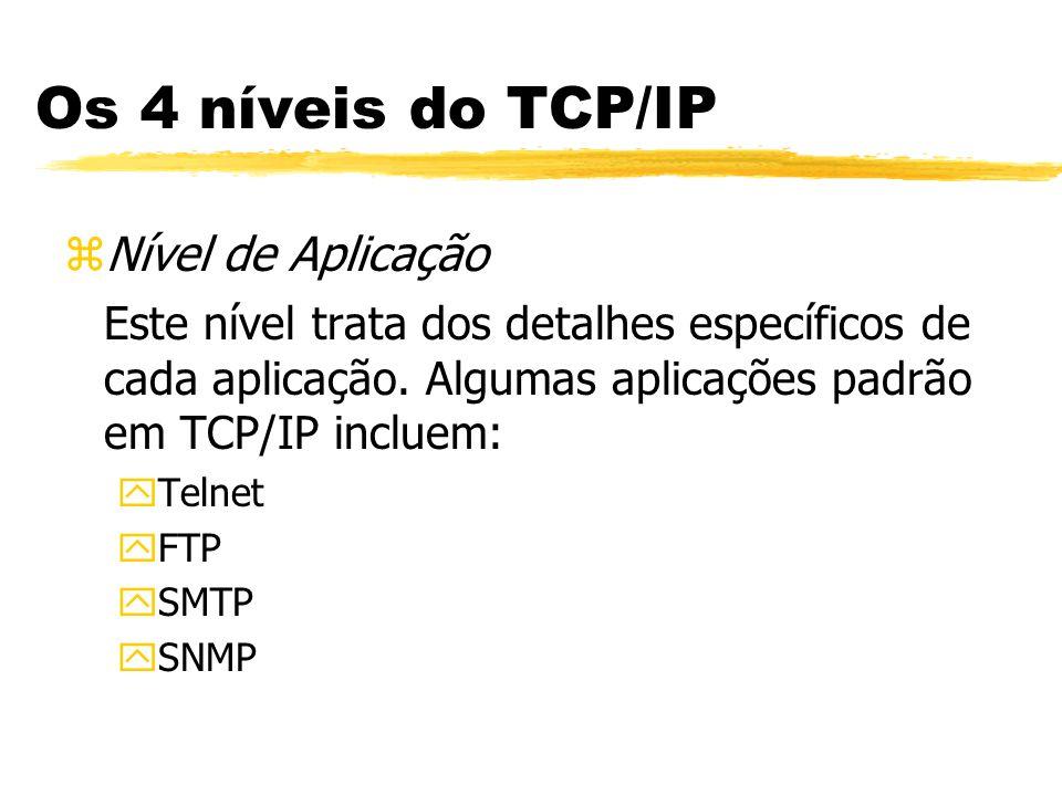 zNível de Aplicação Este nível trata dos detalhes específicos de cada aplicação. Algumas aplicações padrão em TCP/IP incluem: yTelnet yFTP ySMTP ySNMP
