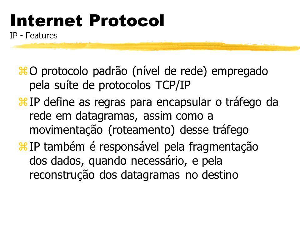 Internet Protocol IP - Features zO protocolo padrão (nível de rede) empregado pela suíte de protocolos TCP/IP zIP define as regras para encapsular o t