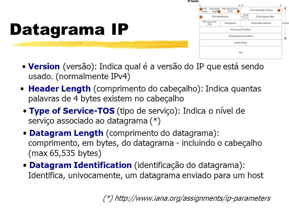 Version (versão): Indica qual é a versão do IP que está sendo usado. (normalmente IPv4) Header Length (comprimento do cabeçalho): Indica quantas palav