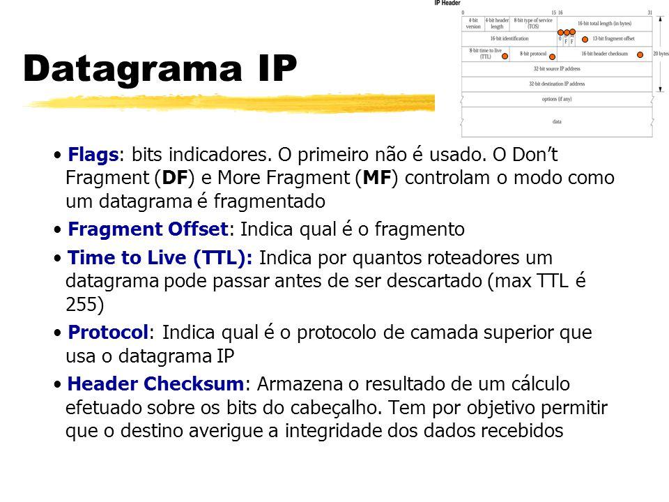 Flags: bits indicadores. O primeiro não é usado. O Don't Fragment (DF) e More Fragment (MF) controlam o modo como um datagrama é fragmentado Fragment