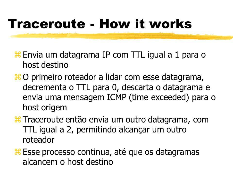 Traceroute - How it works zEnvia um datagrama IP com TTL igual a 1 para o host destino zO primeiro roteador a lidar com esse datagrama, decrementa o T