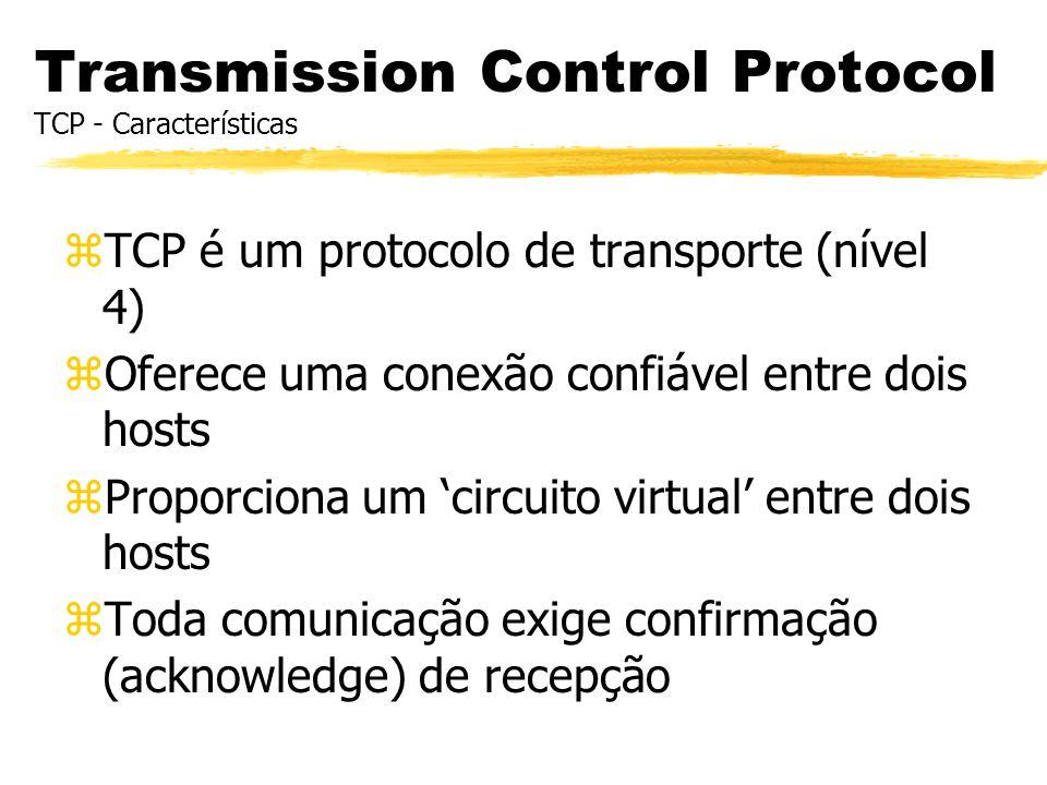 Transmission Control Protocol TCP - Características zTCP é um protocolo de transporte (nível 4) zOferece uma conexão confiável entre dois hosts zPropo