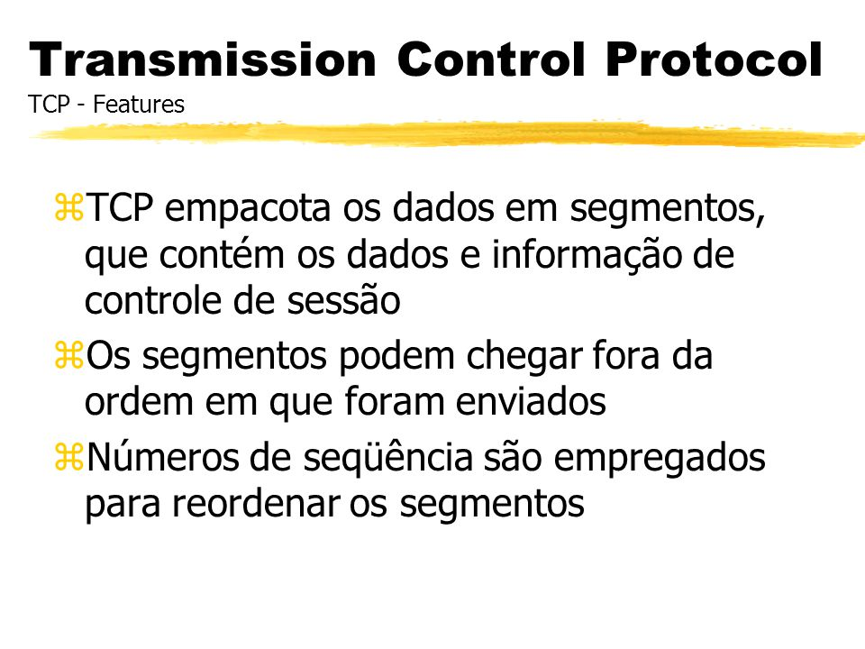 Números de Seqüência Packet Analysis Packet 49 TCP: port ftp-data -> 26410 seq=1326731397 ack=1518678629 DATA: 1460 bytes --------------------------------------------------------------------------- Packet 50 TCP: port ftp-data -> 26410 seq=1326732857 ack=1518678629 DATA: 1460 bytes --------------------------------------------------------------------------- Packet 51 TCP: port ftp-data -> 26410 seq=1326734317 ack=1518678629 DATA: 1460 bytes --------------------------------------------------------------------------- Packet 52 TCP: port ftp-data -> 26410 seq=1326735777 ack=1518678629 DATA: 1460 bytes ftp transfer tcpdump output