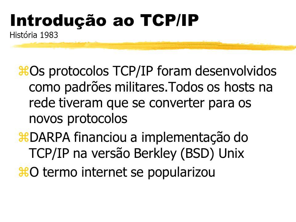 zOs protocolos TCP/IP foram desenvolvidos como padrões militares.Todos os hosts na rede tiveram que se converter para os novos protocolos zDARPA finan