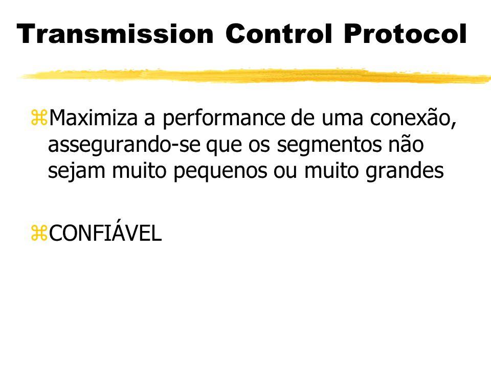 zMaximiza a performance de uma conexão, assegurando-se que os segmentos não sejam muito pequenos ou muito grandes zCONFIÁVEL Transmission Control Prot
