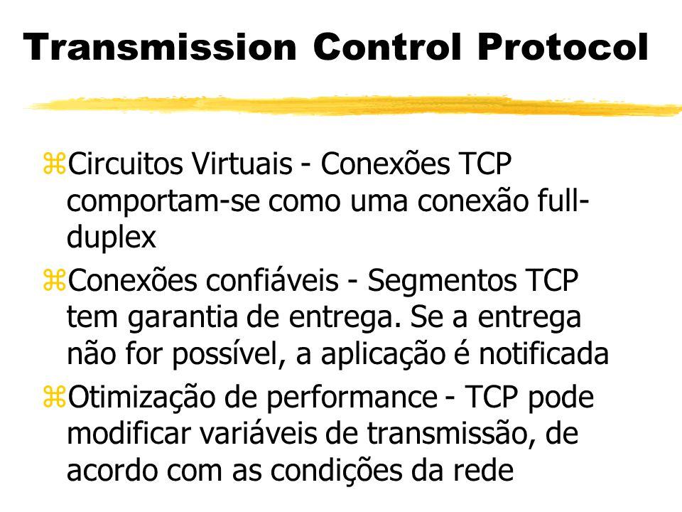 zCircuitos Virtuais - Conexões TCP comportam-se como uma conexão full- duplex zConexões confiáveis - Segmentos TCP tem garantia de entrega. Se a entre
