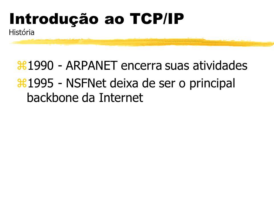 z1990 - ARPANET encerra suas atividades z1995 - NSFNet deixa de ser o principal backbone da Internet Introdução ao TCP/IP História