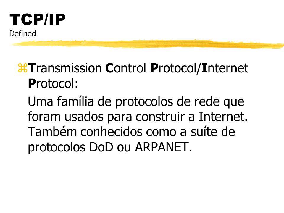 TCP/IP Defined zTransmission Control Protocol/Internet Protocol: Uma família de protocolos de rede que foram usados para construir a Internet. Também