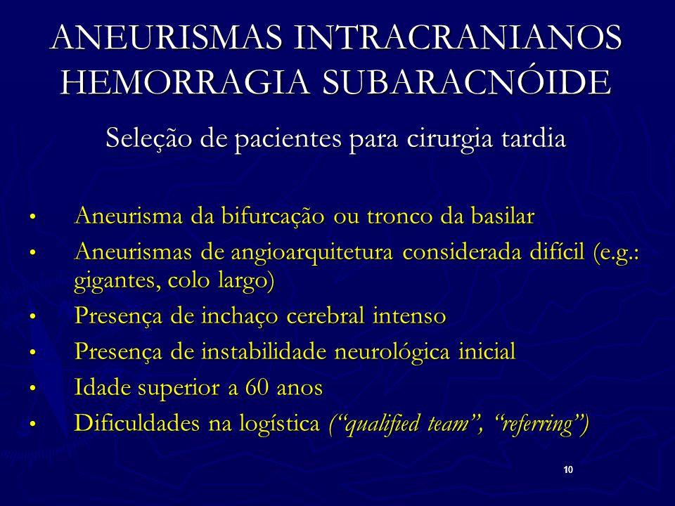 10 ANEURISMAS INTRACRANIANOS HEMORRAGIA SUBARACNÓIDE Seleção de pacientes para cirurgia tardia Aneurisma da bifurcação ou tronco da basilar Aneurisma da bifurcação ou tronco da basilar Aneurismas de angioarquitetura considerada difícil (e.g.: gigantes, colo largo) Aneurismas de angioarquitetura considerada difícil (e.g.: gigantes, colo largo) Presença de inchaço cerebral intenso Presença de inchaço cerebral intenso Presença de instabilidade neurológica inicial Presença de instabilidade neurológica inicial Idade superior a 60 anos Idade superior a 60 anos Dificuldades na logística ( qualified team , referring ) Dificuldades na logística ( qualified team , referring )