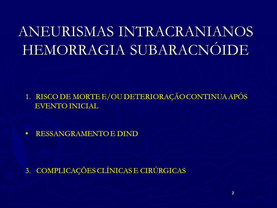 2 2 ANEURISMAS INTRACRANIANOS HEMORRAGIA SUBARACNÓIDE 1.RISCO DE MORTE E/OU DETERIORAÇÃO CONTINUA APÓS EVENTO INICIAL EVENTO INICIAL RESSANGRAMENTO E DINDRESSANGRAMENTO E DIND 3.