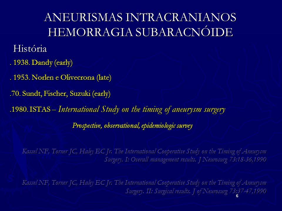 6 6 ANEURISMAS INTRACRANIANOS HEMORRAGIA SUBARACNÓIDE História História.