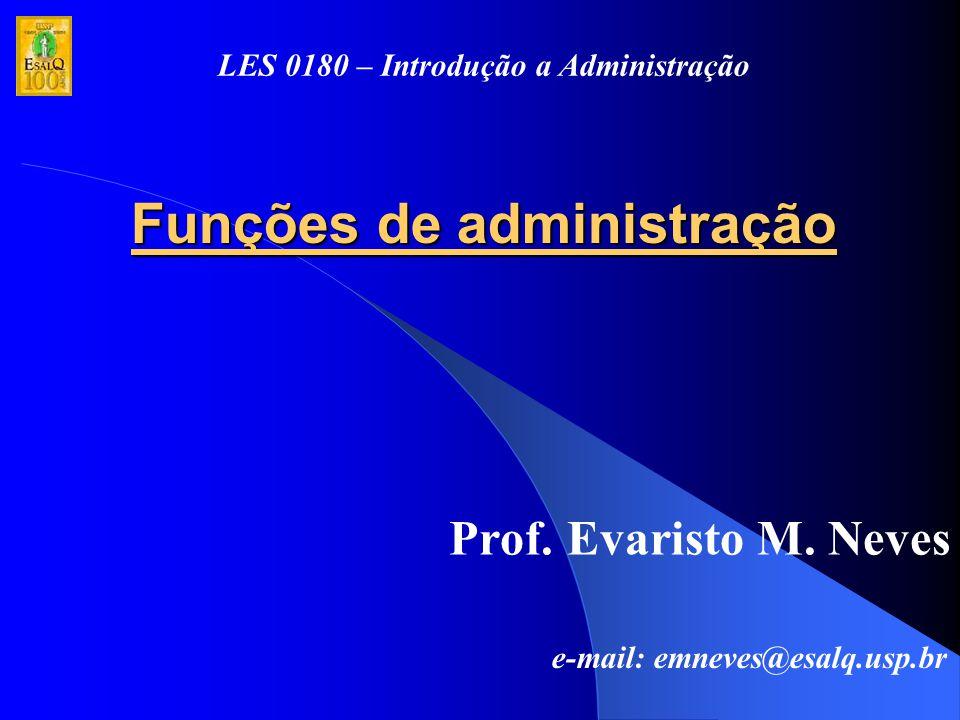 Funções de administração Prof. Evaristo M. Neves e-mail: emneves@esalq.usp.br LES 0180 – Introdução a Administração