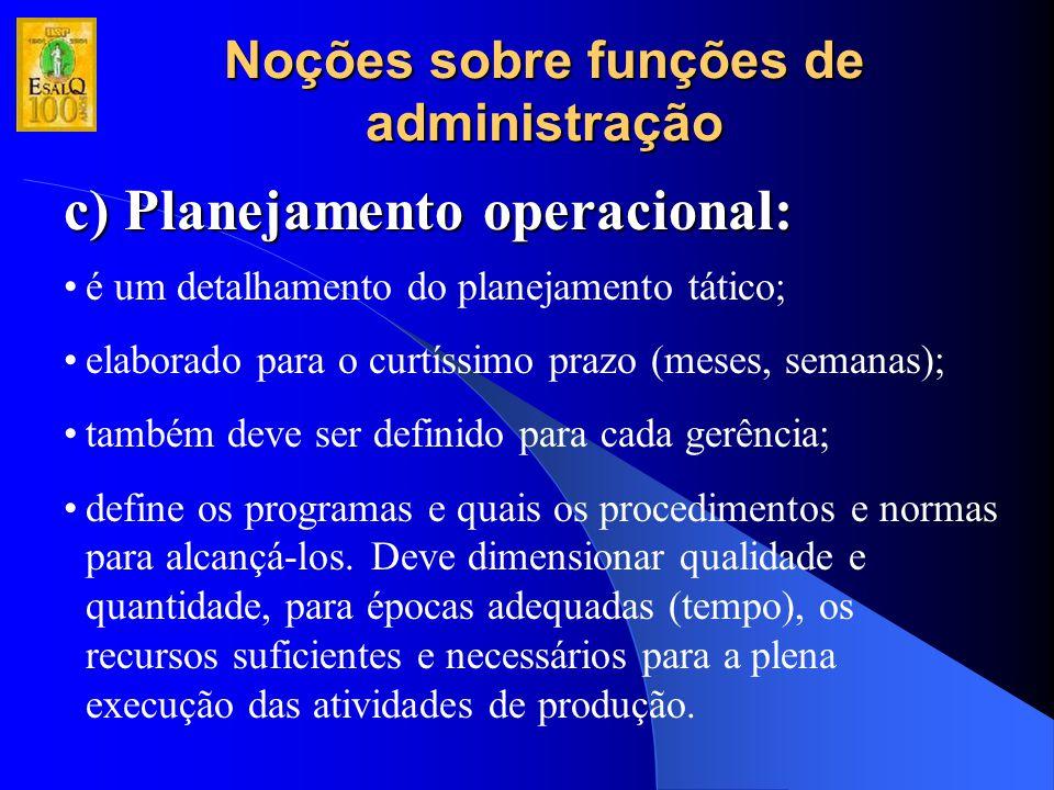 Noções sobre funções de administração c) Planejamento operacional: é um detalhamento do planejamento tático; elaborado para o curtíssimo prazo (meses,