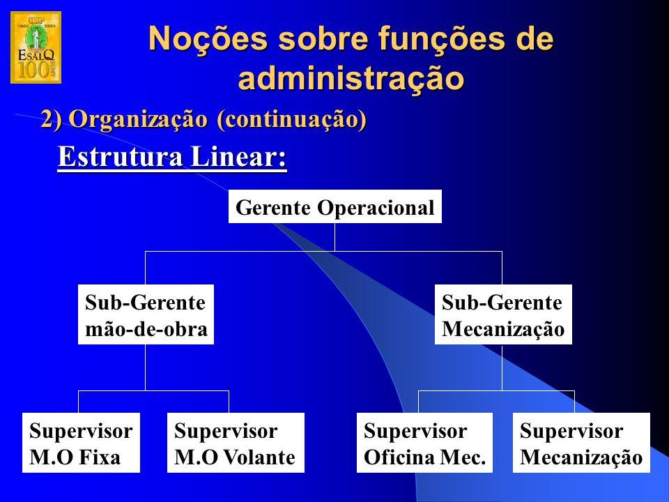 Noções sobre funções de administração 2) Organização (continuação) Estrutura Linear: Gerente Operacional Sub-Gerente mão-de-obra Sub-Gerente Mecanizaç
