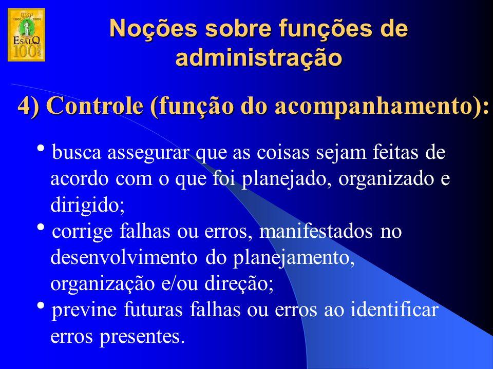 Noções sobre funções de administração 4) Controle (função do acompanhamento):  busca assegurar que as coisas sejam feitas de acordo com o que foi pla