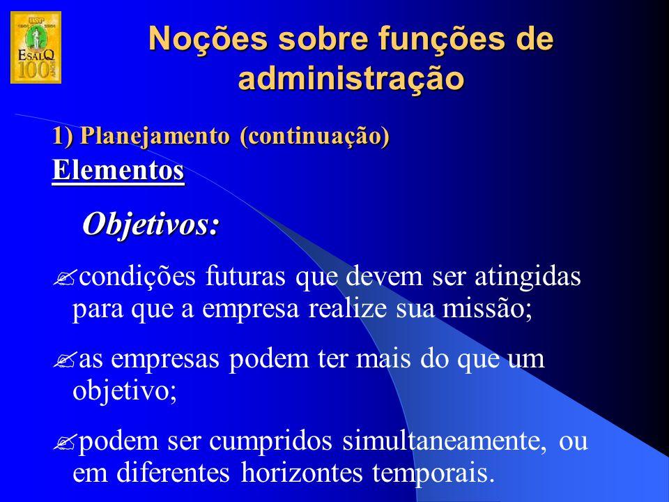 Noções sobre funções de administração 1) Planejamento (continuação) Elementos Objetivos: ?condições futuras que devem ser atingidas para que a empresa