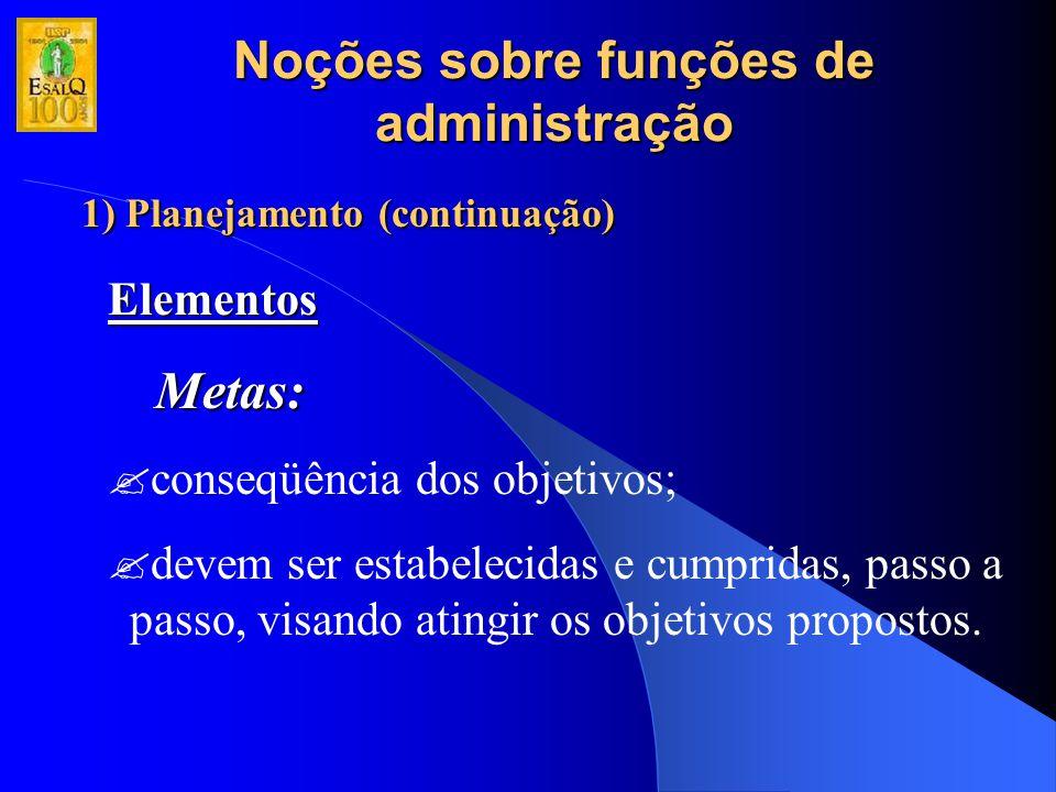 Noções sobre funções de administração 1) Planejamento (continuação) Elementos Metas: ?conseqüência dos objetivos; ?devem ser estabelecidas e cumpridas