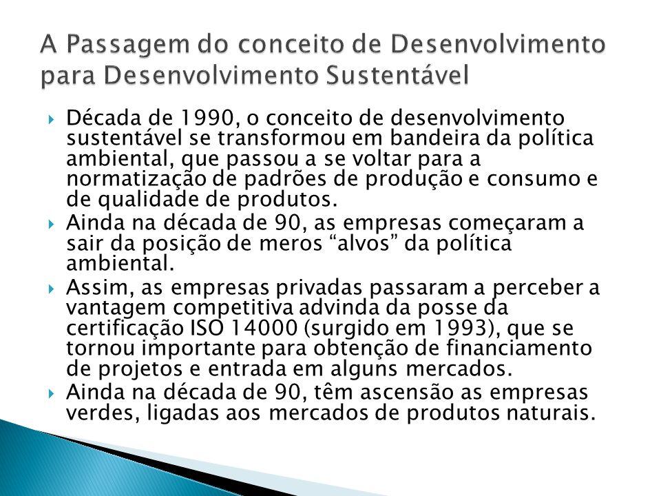  Década de 1990, o conceito de desenvolvimento sustentável se transformou em bandeira da política ambiental, que passou a se voltar para a normatização de padrões de produção e consumo e de qualidade de produtos.