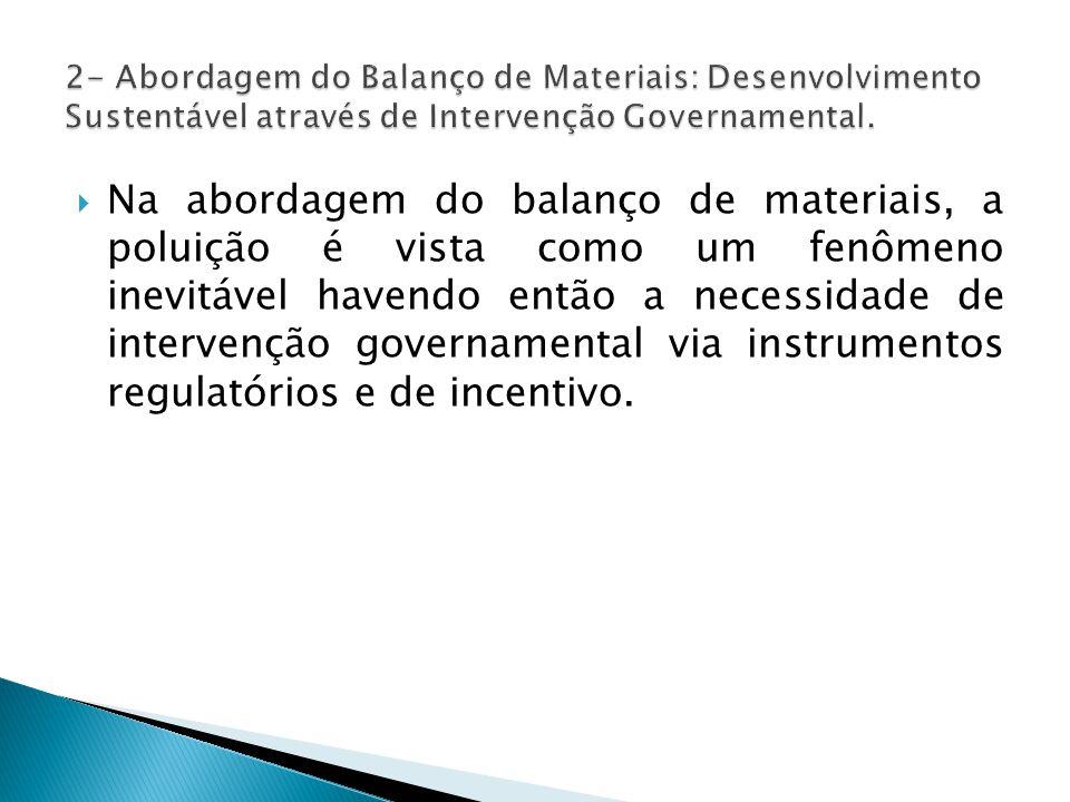  Na abordagem do balanço de materiais, a poluição é vista como um fenômeno inevitável havendo então a necessidade de intervenção governamental via instrumentos regulatórios e de incentivo.