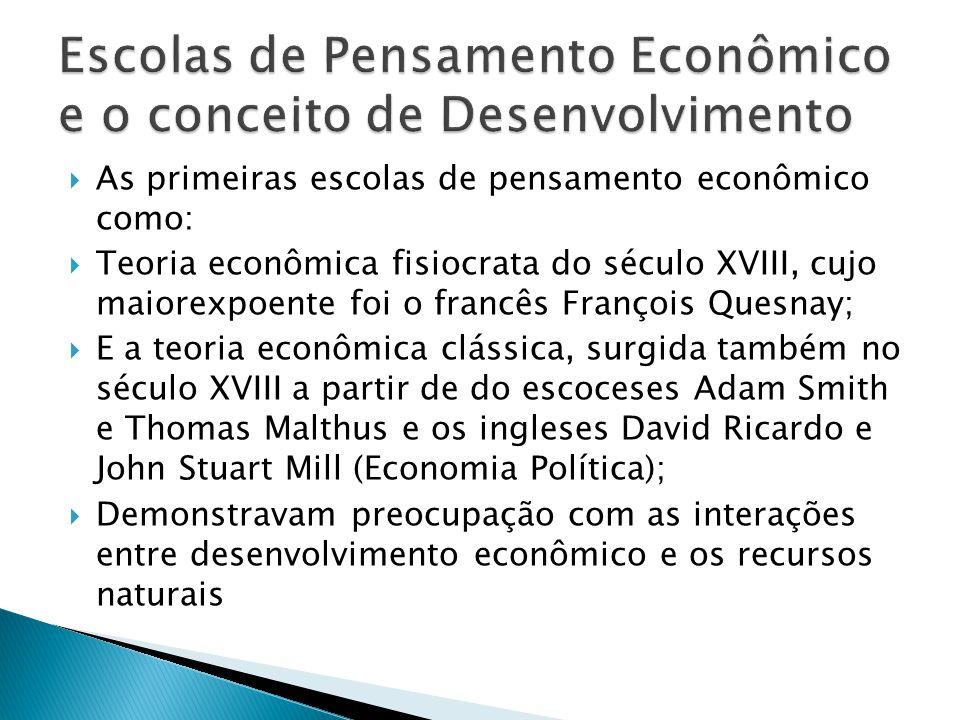  As primeiras escolas de pensamento econômico como:  Teoria econômica fisiocrata do século XVIII, cujo maiorexpoente foi o francês François Quesnay;  E a teoria econômica clássica, surgida também no século XVIII a partir de do escoceses Adam Smith e Thomas Malthus e os ingleses David Ricardo e John Stuart Mill (Economia Política);  Demonstravam preocupação com as interações entre desenvolvimento econômico e os recursos naturais