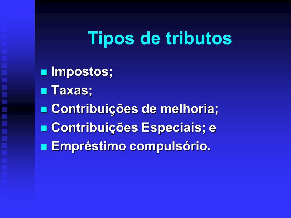 Tipos de tributos Impostos; Impostos; Taxas; Taxas; Contribuições de melhoria; Contribuições de melhoria; Contribuições Especiais; e Contribuições Esp