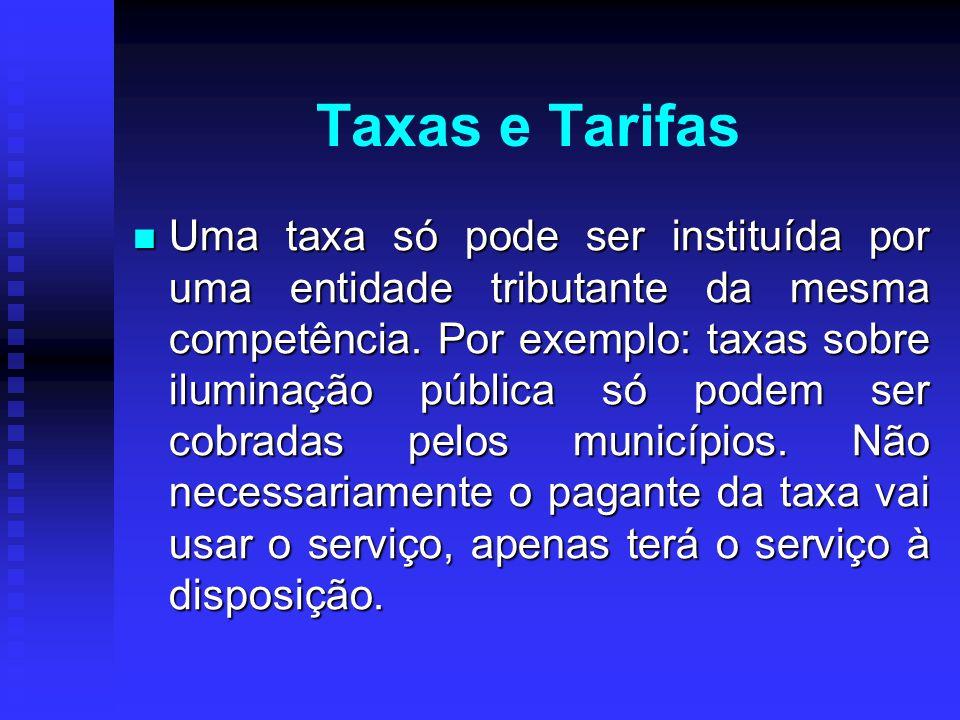 Uma taxa só pode ser instituída por uma entidade tributante da mesma competência. Por exemplo: taxas sobre iluminação pública só podem ser cobradas pe