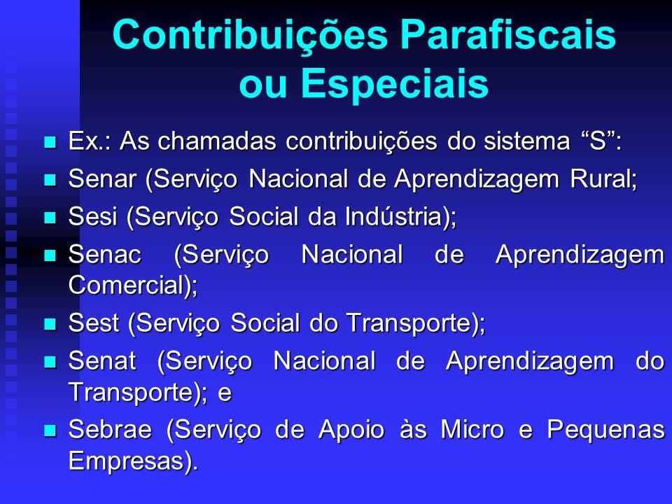 """Ex.: As chamadas contribuições do sistema """"S"""": Ex.: As chamadas contribuições do sistema """"S"""": Senar (Serviço Nacional de Aprendizagem Rural; Senar (Se"""