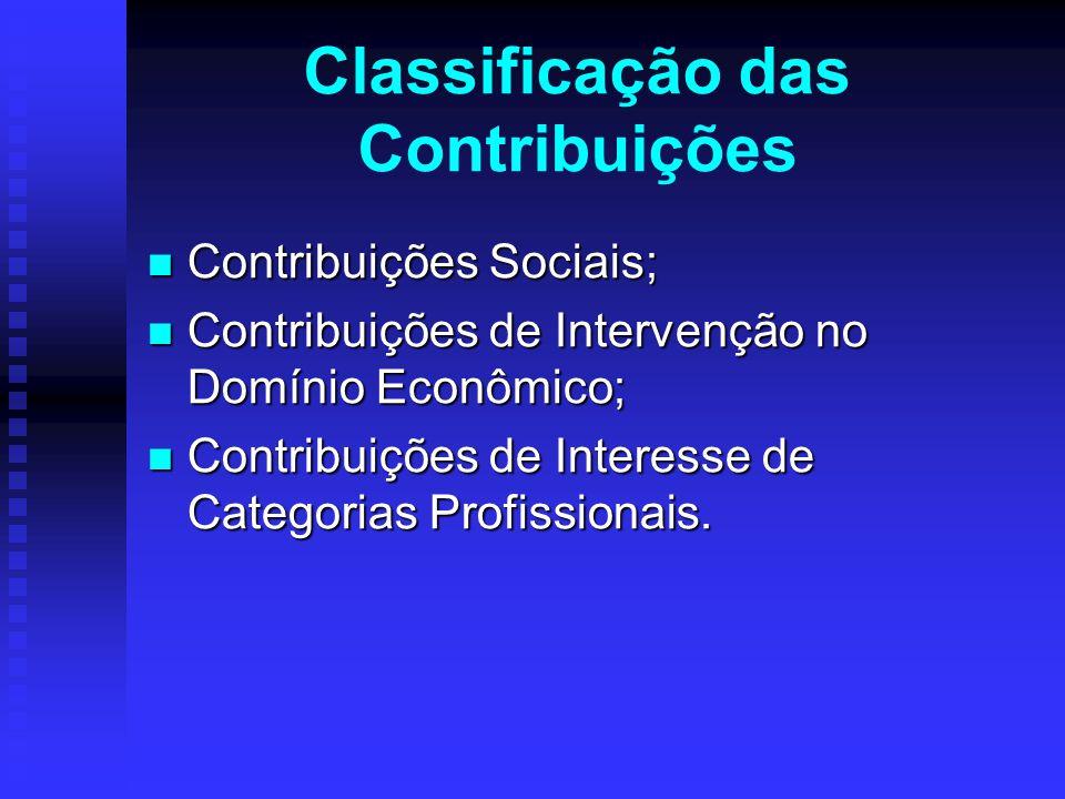 Classificação das Contribuições Contribuições Sociais; Contribuições Sociais; Contribuições de Intervenção no Domínio Econômico; Contribuições de Inte