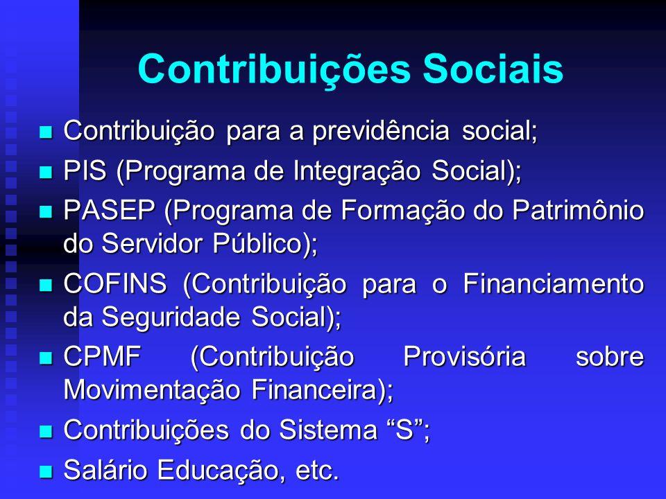 Contribuição para a previdência social; Contribuição para a previdência social; PIS (Programa de Integração Social); PIS (Programa de Integração Socia