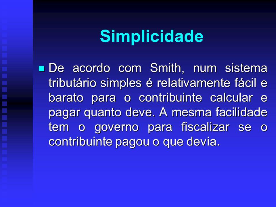 Simplicidade De acordo com Smith, num sistema tributário simples é relativamente fácil e barato para o contribuinte calcular e pagar quanto deve. A me