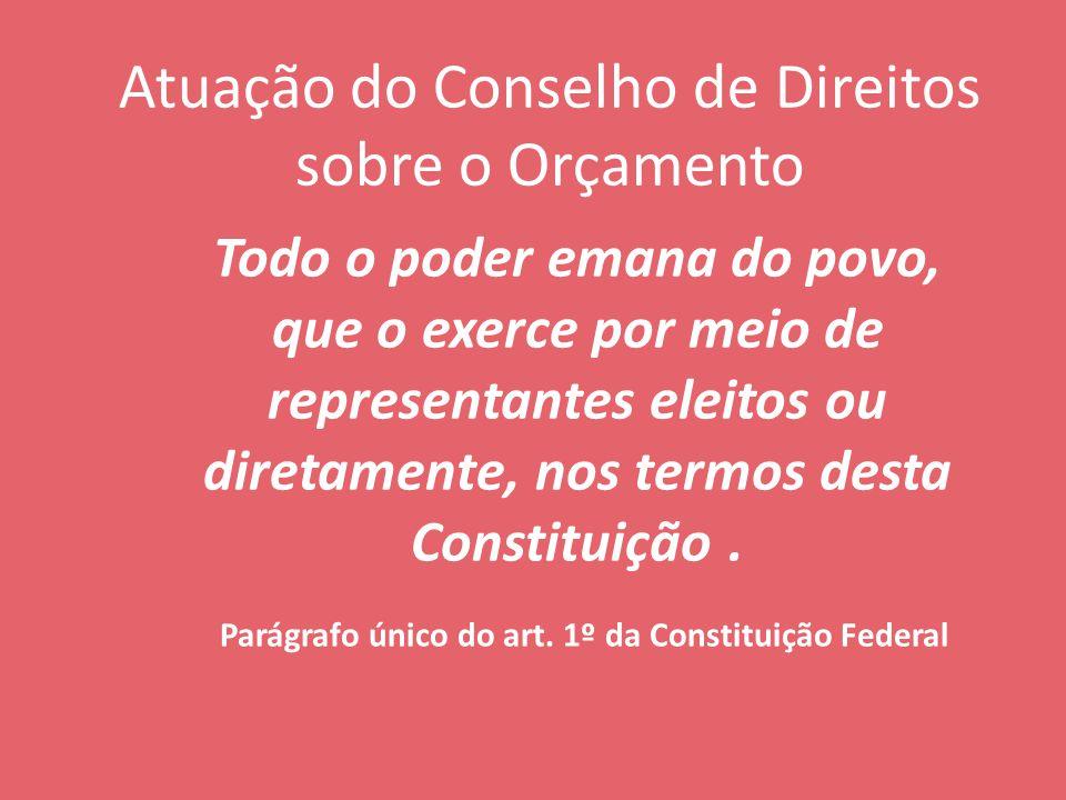 Atuação do Conselho de Direitos sobre o Orçamento Todo o poder emana do povo, que o exerce por meio de representantes eleitos ou diretamente, nos termos desta Constituição.