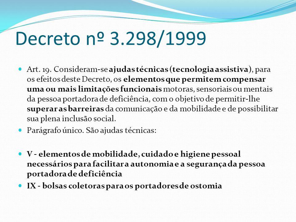 Decreto nº 3.298/1999 Art. 19. Consideram-se ajudas técnicas (tecnologia assistiva), para os efeitos deste Decreto, os elementos que permitem compensa