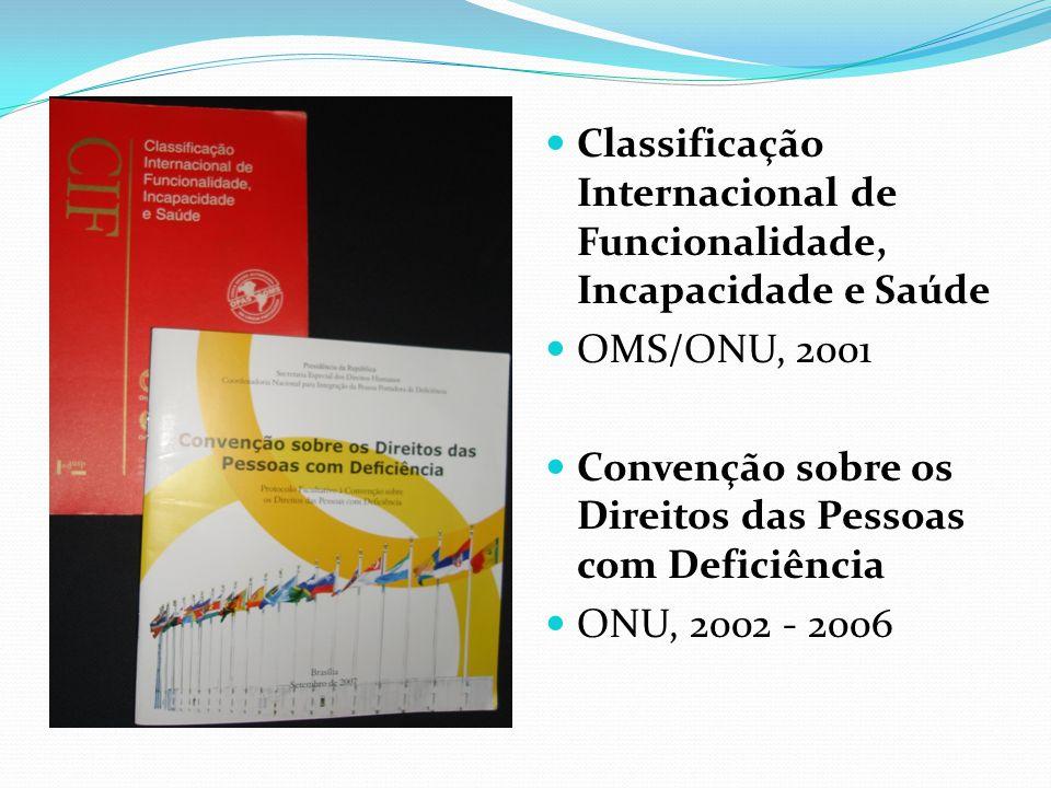 Classificação Internacional de Funcionalidade, Incapacidade e Saúde OMS/ONU, 2001 Convenção sobre os Direitos das Pessoas com Deficiência ONU, 2002 -