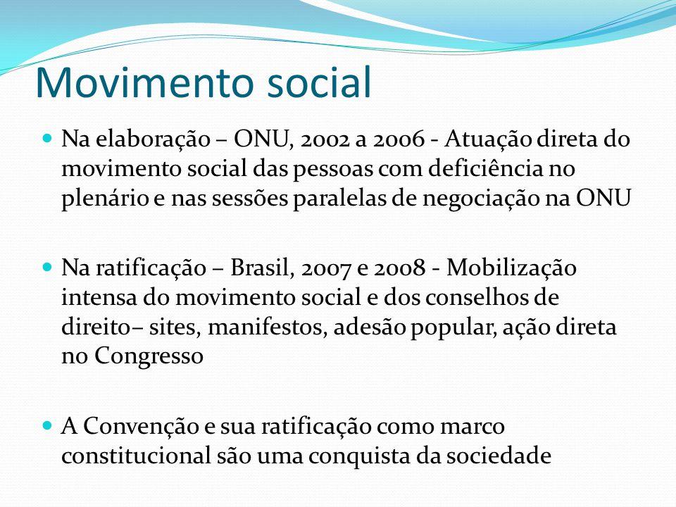 Movimento social Na elaboração – ONU, 2002 a 2006 - Atuação direta do movimento social das pessoas com deficiência no plenário e nas sessões paralelas