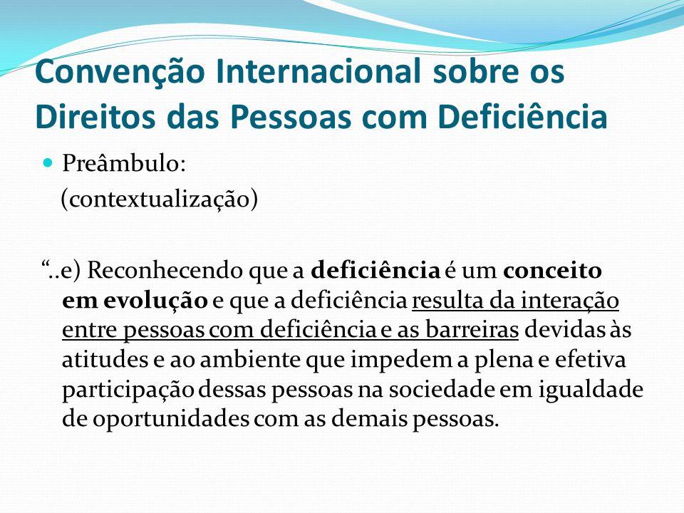 """Convenção Internacional sobre os Direitos das Pessoas com Deficiência Preâmbulo: (contextualização) """"..e) Reconhecendo que a deficiência é um conceito"""