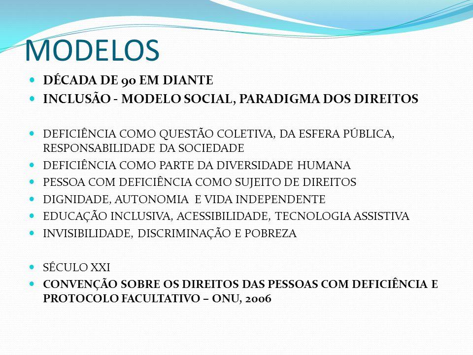 MODELOS DÉCADA DE 90 EM DIANTE INCLUSÃO - MODELO SOCIAL, PARADIGMA DOS DIREITOS DEFICIÊNCIA COMO QUESTÃO COLETIVA, DA ESFERA PÚBLICA, RESPONSABILIDADE DA SOCIEDADE DEFICIÊNCIA COMO PARTE DA DIVERSIDADE HUMANA PESSOA COM DEFICIÊNCIA COMO SUJEITO DE DIREITOS DIGNIDADE, AUTONOMIA E VIDA INDEPENDENTE EDUCAÇÃO INCLUSIVA, ACESSIBILIDADE, TECNOLOGIA ASSISTIVA INVISIBILIDADE, DISCRIMINAÇÃO E POBREZA SÉCULO XXI CONVENÇÃO SOBRE OS DIREITOS DAS PESSOAS COM DEFICIÊNCIA E PROTOCOLO FACULTATIVO – ONU, 2006