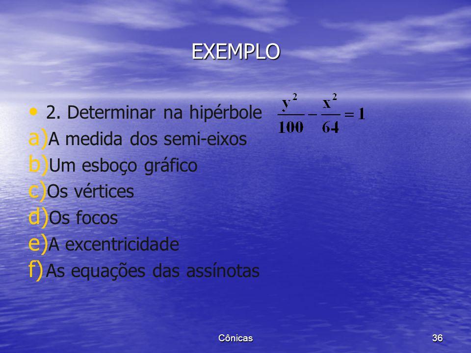 EXEMPLO 1. Determinar na hipérbole a) a) A medida dos semi-eixos b) b) Um esboço gráfico c) c) Os vértices d) d) Os focos e) e) A excentricidade f) f)