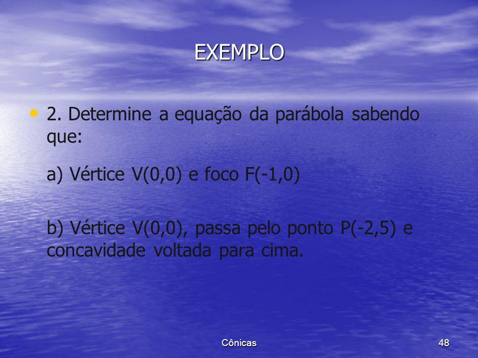 1. Achar as coordenadas do foco e a equação da diretriz das parábolas a) b) Cônicas 47 EXEMPLO