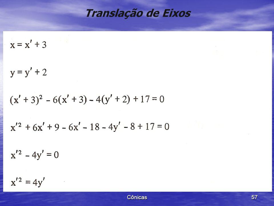 Cônicas 56 Translação de Eixos