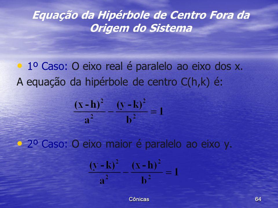 1. Determinar o centro, os vértices, os focos e a excentricidade da elipse de equação Cônicas 63 Exemplo