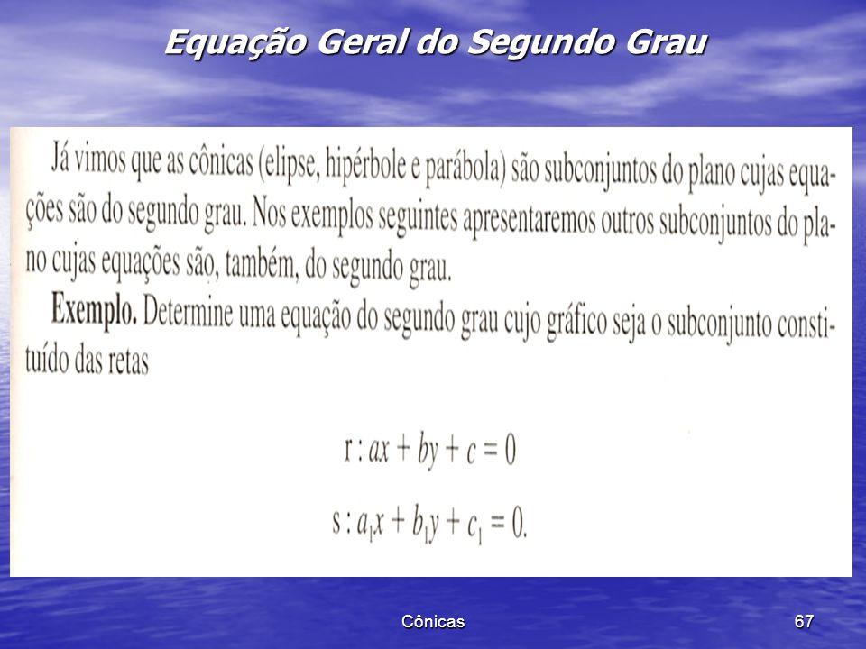 Cônicas 66 Exemplo 2. Obter a equação reduzida resultante de uma translação de eixos, classificar, dar os elementos e esboçar o gráfico da equação. A)