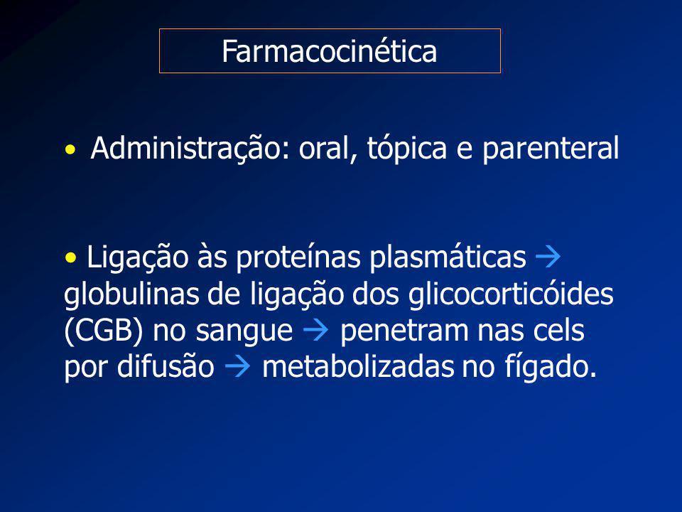 Farmacocinética Administração: oral, tópica e parenteral Ligação às proteínas plasmáticas  globulinas de ligação dos glicocorticóides (CGB) no sangue