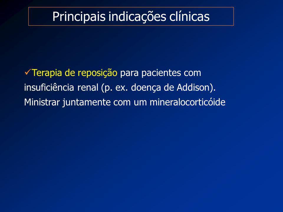 Principais indicações clínicas Terapia de reposição para pacientes com insuficiência renal (p. ex. doença de Addison). Ministrar juntamente com um min