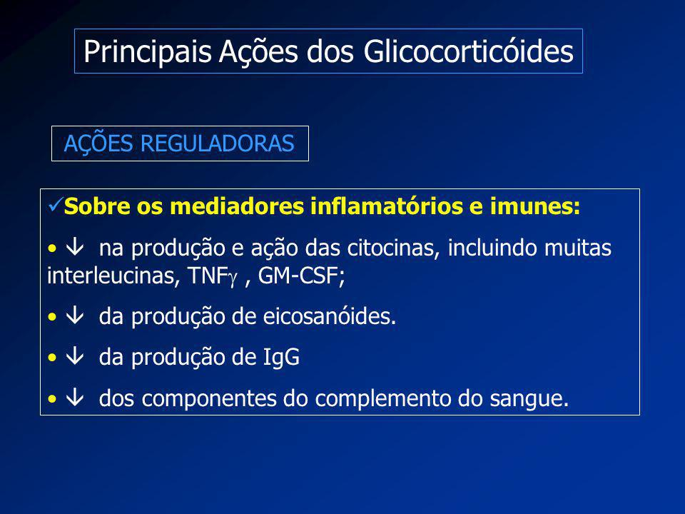 Principais Ações dos Glicocorticóides AÇÕES REGULADORAS Sobre os mediadores inflamatórios e imunes:  na produção e ação das citocinas, incluindo muit