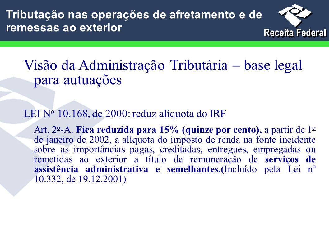 Visão da Administração Tributária – base legal para autuações LEI N o 10.168, de 2000: reduz alíquota do IRF Art. 2 o -A. Fica reduzida para 15% (quin