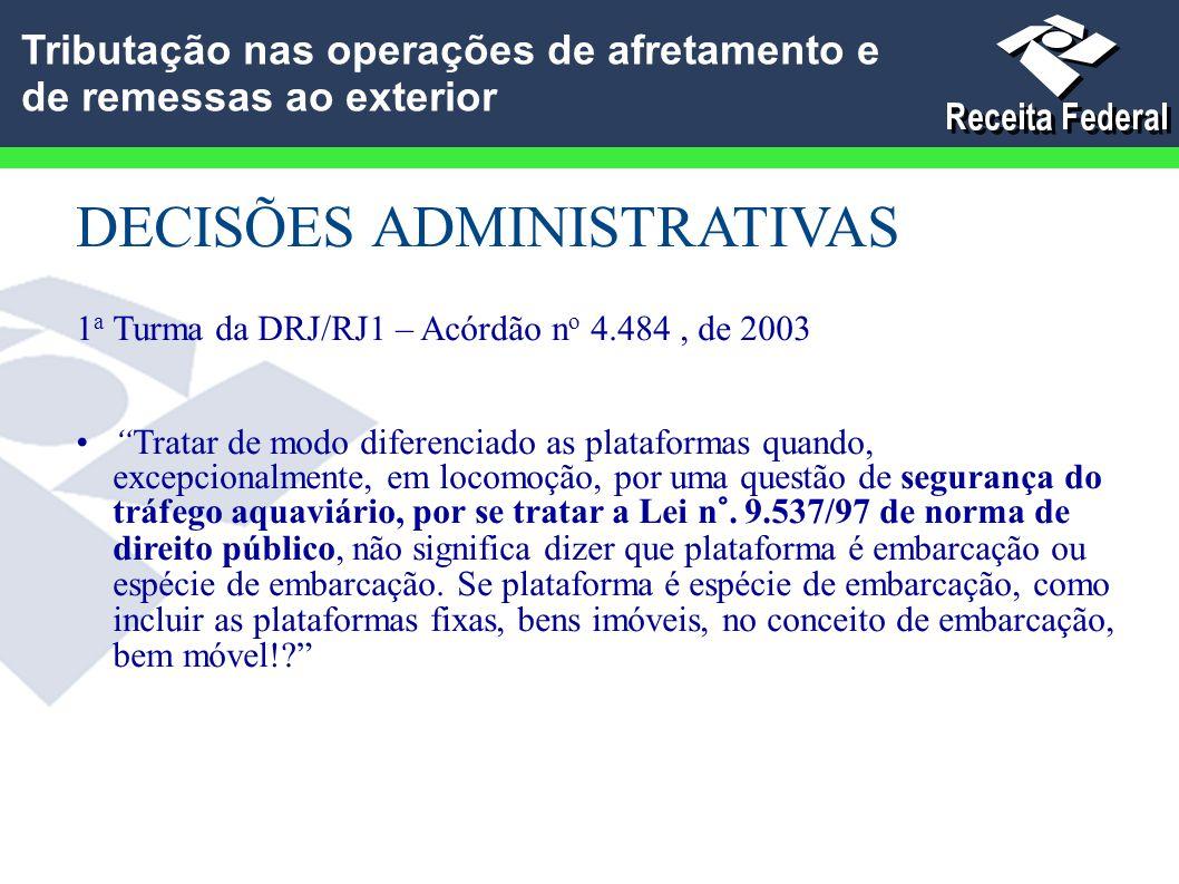 """DECISÕES ADMINISTRATIVAS 1 a Turma da DRJ/RJ1 – Acórdão n o 4.484, de 2003 """"Tratar de modo diferenciado as plataformas quando, excepcionalmente, em lo"""