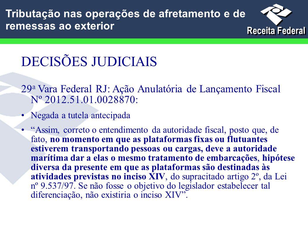 """DECISÕES JUDICIAIS 29 a Vara Federal RJ: Ação Anulatória de Lançamento Fiscal Nº 2012.51.01.0028870: Negada a tutela antecipada """"Assim, correto o ente"""