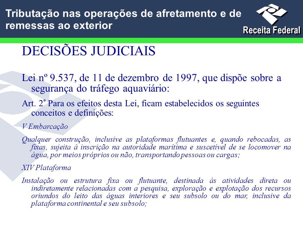 DECISÕES JUDICIAIS Lei nº 9.537, de 11 de dezembro de 1997, que dispõe sobre a segurança do tráfego aquaviário: Art. 2° Para os efeitos desta Lei, fic