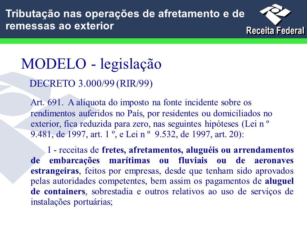 MODELO - legislação DECRETO 3.000/99 (RIR/99) Art. 691. A alíquota do imposto na fonte incidente sobre os rendimentos auferidos no País, por residente